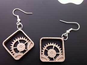 Settings Earrings in Polished Bronzed Silver Steel
