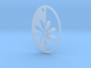 Simple Flower pendant in Smooth Fine Detail Plastic