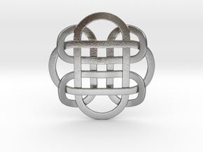 Designer Kolam Pendant in Natural Silver
