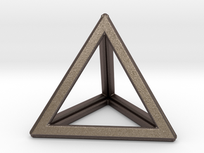 TETRAHEDRON (Platonic) in Polished Bronzed Silver Steel