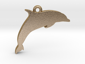 Dolphin Pendant in Polished Gold Steel