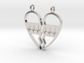 Split Heart Pendant in Rhodium Plated Brass