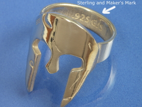 Spartan Helmet Ring - Size US 10.25 in Polished Silver