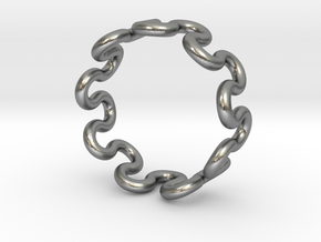 Wave Ring (21mm / 0.82inch inner diameter) in Natural Silver