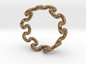 Wave Ring (18mm / 0.70inch inner diameter) in Natural Brass