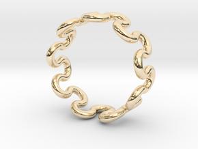 Wave Ring (20mm / 0.78inch inner diameter) in 14k Gold Plated Brass