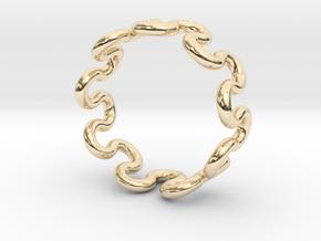 Wave Ring (21mm / 0.82inch inner diameter) in 14k Gold Plated Brass