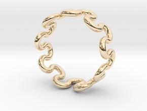 Wave Ring (22mm / 0.86inch inner diameter) in 14k Gold Plated Brass
