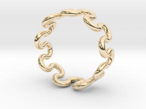 Wave Ring (23mm / 0.90inch inner diameter) in 14k Gold Plated Brass
