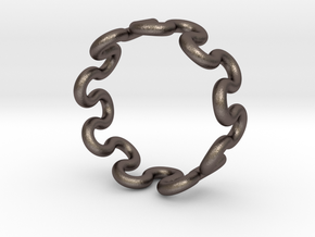 Wave Ring (25mm / 0.98inch inner diameter) in Polished Bronzed Silver Steel