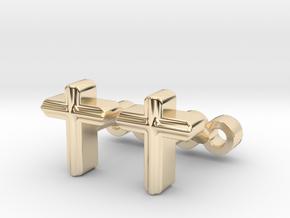 Cross Cufflinks Set in 14k Gold Plated Brass