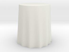 "1:24 Draped Table - 24"" diameter in White Natural Versatile Plastic"
