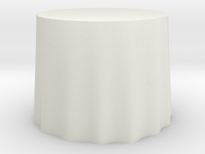 "1:24 Draped Table - 36"" diameter in White Strong & Flexible"