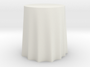 "1:48 Draped Table - 24"" diameter in White Natural Versatile Plastic"