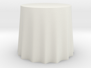 "1:48 Draped Table - 30"" diameter in White Strong & Flexible"