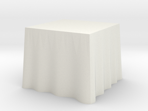 "1:48 Draped Table - 30"" square in White Natural Versatile Plastic"