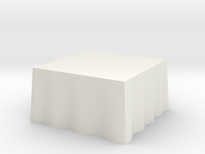 "1:48 Draped Table - 48"" square in White Strong & Flexible"