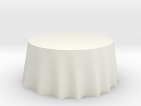 "1:48 Draped Table - 60"" diameter in White Strong & Flexible"