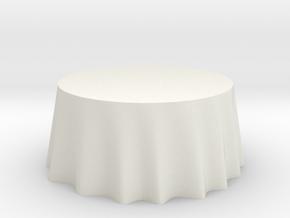 "1:48 Draped Table - 60"" diameter in White Natural Versatile Plastic"