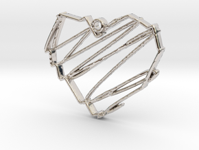 Sketch Heart Pendant in Rhodium Plated Brass