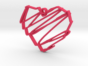 Sketch Heart Pendant in Pink Processed Versatile Plastic