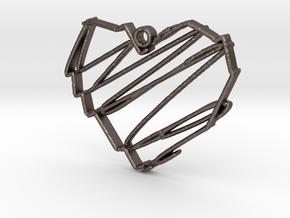 Sketch Heart Pendant in Polished Bronzed Silver Steel