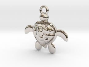 Honu Turtle in Rhodium Plated Brass