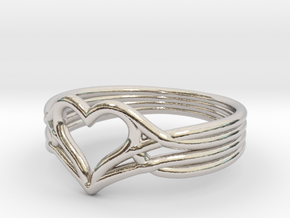 Woven Heart - Smaller (Size 7) in Rhodium Plated Brass