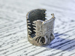 Gator Ring (US Size 7) in Polished Bronzed Silver Steel
