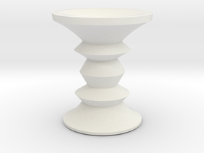 1:24 Eames Walnut Stool in White Natural Versatile Plastic