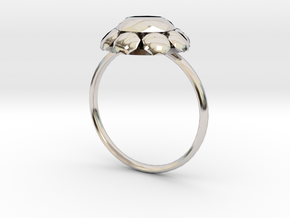 Diamond Ring US Size 7 UK Size O in Rhodium Plated Brass