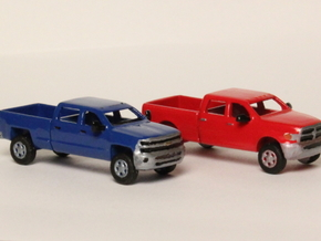 1:160 N Scale Chevy & Dodge Crew Cab Pickup Trucks in Smooth Fine Detail Plastic