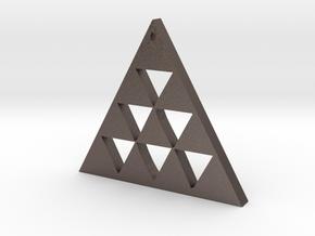 Pintadera Canaria Triangular in Polished Bronzed Silver Steel
