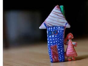 Girl & House in Full Color Sandstone