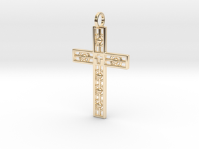 Atomic Cross in 14k Gold Plated Brass