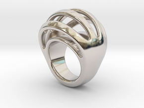 RING CRAZY 16 - ITALIAN SIZE 16 in Rhodium Plated Brass