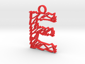 "Sketch ""E"" Pendant in Red Strong & Flexible Polished"