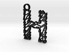 "Sketch ""H"" Pendant in Matte Black Steel"