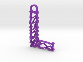 """Sketch """"L"""" Pendant in Purple Processed Versatile Plastic"""