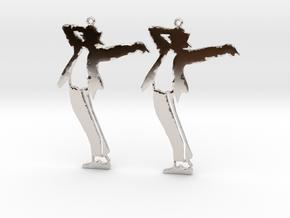 Michael Jackson Earrings Ver.1 in Rhodium Plated Brass