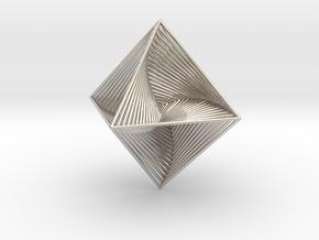 0048 Octahedron Line Design (10 cm) #002 in Rhodium Plated Brass
