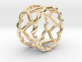 The Ring of Hearts (14 Hearts) Size: Japanese 9 in 14k Gold Plated Brass