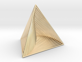 0046 Tetrahedron Line Design (5 cm) #001 in 14k Gold Plated Brass