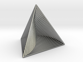 0046 Tetrahedron Line Design (5 cm) #001 in Natural Silver