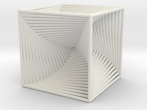 0049 Cube Line Design (10cm) #002 in White Natural Versatile Plastic