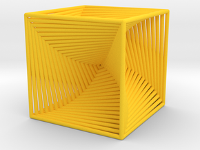 0049 Cube Line Design (10cm) #002 in Yellow Processed Versatile Plastic