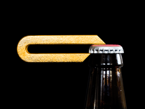 Leverage Bottle Opener - Solid in Polished Gold Steel