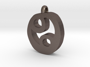Cancer Pendant in Polished Bronzed Silver Steel