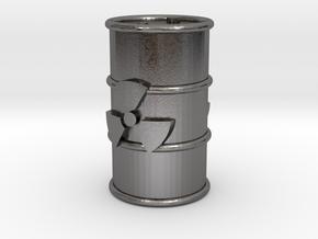 Radioactive Barrel, Red in Polished Nickel Steel