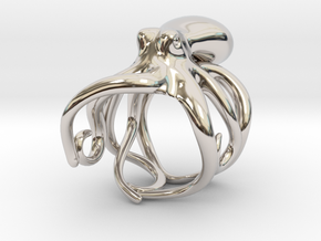 Octopus Ring 17mm in Rhodium Plated Brass